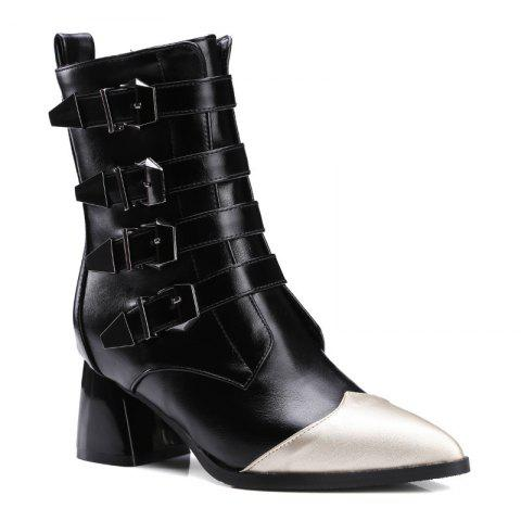 Pointed Rough Fashion Belt Buckle Fight Color Short Boots - BLACK 37