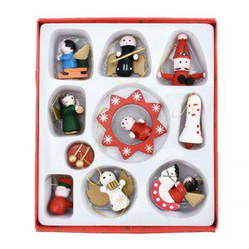 Lovely Christmas Tree Decorations Wooden Small Doll Pendant New Year Decor - MULTI multicolor
