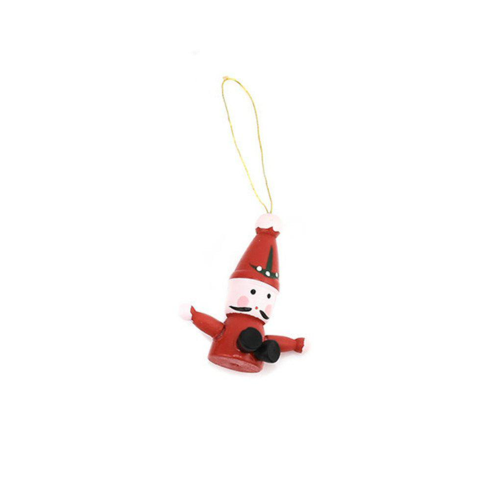 Lovely Christmas Tree Decorations Wooden Small Doll Pendant New Year Decor - multicolor