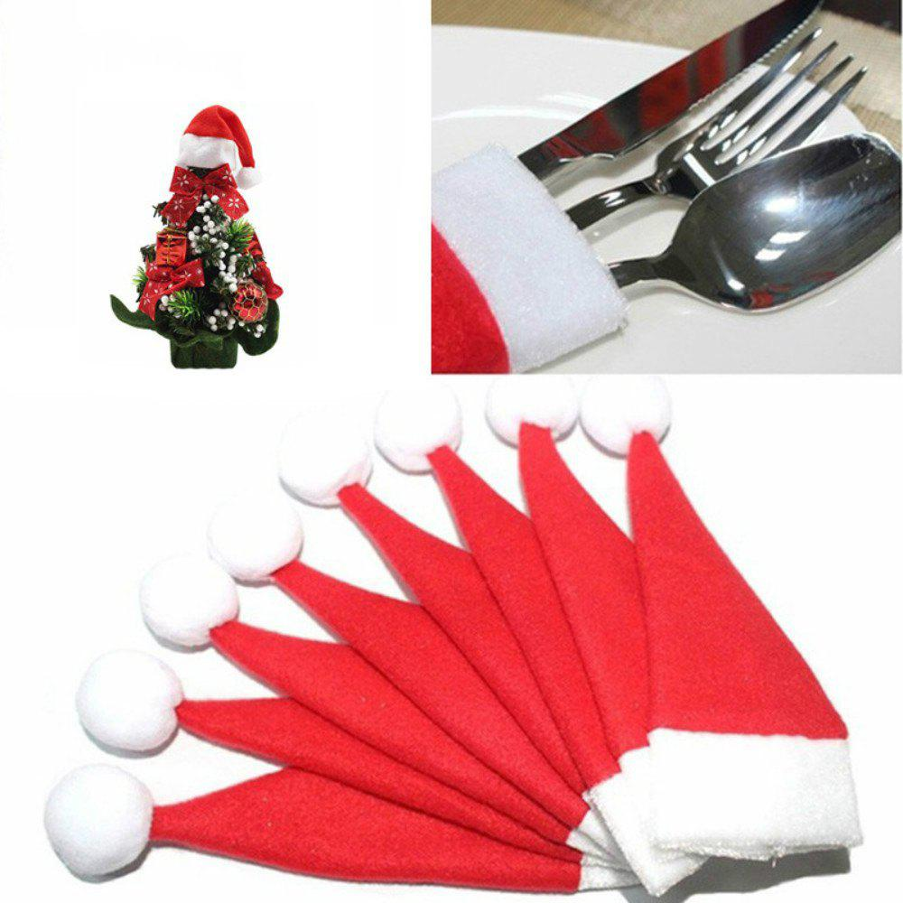 10PCS/LOT Christmas Silverware Holder Mini Xmas Tree Santa Claus Hat Xmas Decoration inflatable cartoon customized advertising giant christmas inflatable santa claus for christmas outdoor decoration