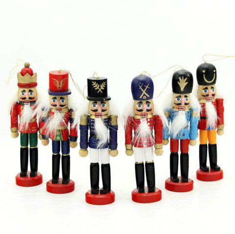 6PCS Nutcracker Puppet Creative Desktop Decoration 12CM Wood Made Christmas Ornaments Drawing Walnuts Soldiers - multicolor
