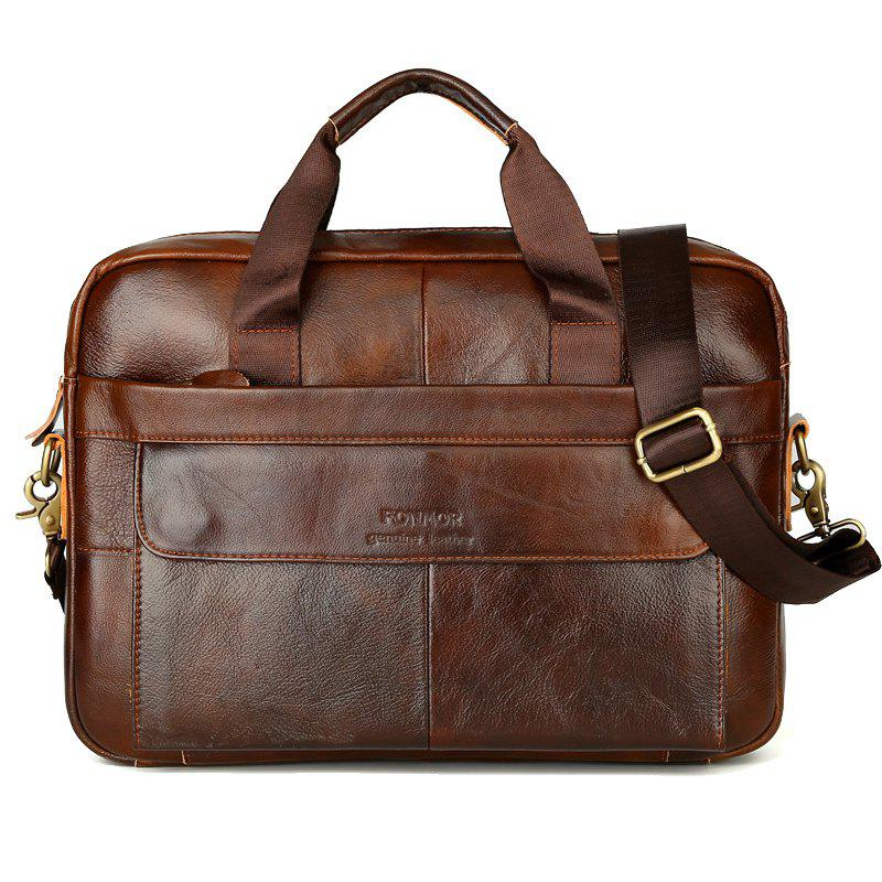 FONMOR brand Vintage men's COW leather briefcase Genuine leather handbag Laptop briefcase - BROWN
