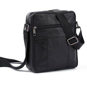 Brand 100% Genuine Leather Men's Crossbody Bag Casual Business Leather Mens Messenger Bag Vintage Men Bag - BLACK