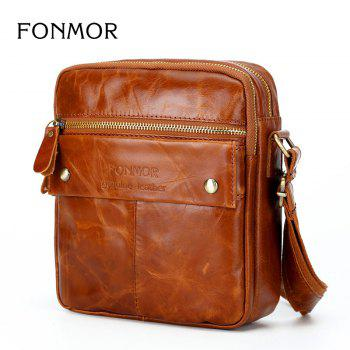 Genuine Leather Messenger Bags Men Travel Business flap Shoulder Crossbody Bags Male leather bags -  TAN