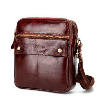Genuine Leather Messenger Bags Men Travel Business flap Shoulder Crossbody Bags Male leather bags - BROWNIE BROWNIE