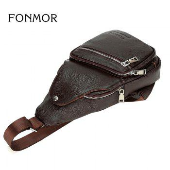 Genuine Leather Men Chest Pack Single Shoulder Bag Mens Sling Bag Messenger Crossbody Bag for Man - TAN