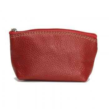 Women small Wallet Genuine Leather High Quality Zipper Mini Coin Purse 100% Cowhide Female Casual Coin Holder Purses -  RED