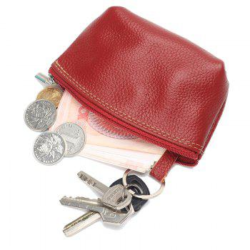 Women small Wallet Genuine Leather High Quality Zipper Mini Coin Purse 100% Cowhide Female Casual Coin Holder Purses - RED RED