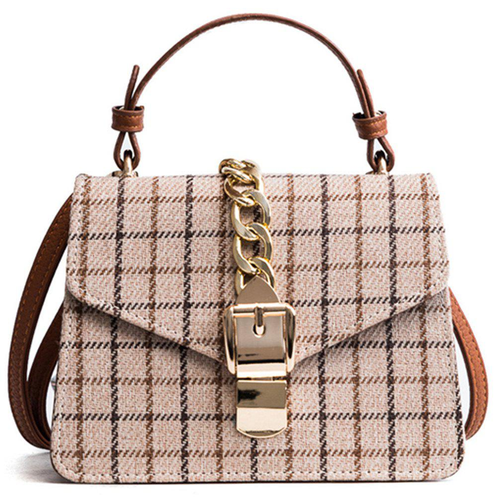 New Wild Shoulder Messenger Bag Plaid Small Square Package - BEIGE