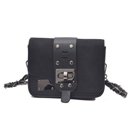 New Chain Messenger Bag Matte Small Square Package - BLACK