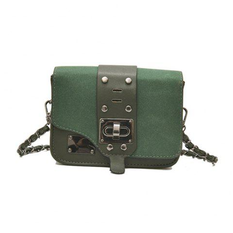 New Chain Messenger Bag Matte Small Square Package - GREEN