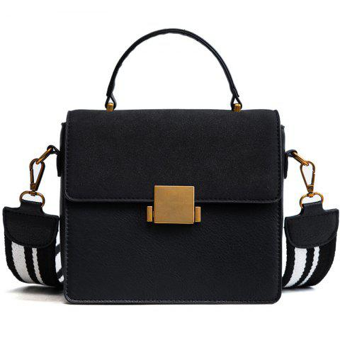 2018 New Nubuck Leather Crossbody Bag Retro All-Match Lock Bag Small Portable Shoulder Wide Straps - BLACK