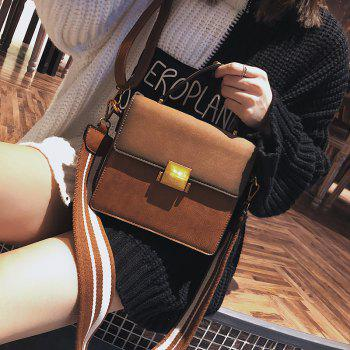 2018 New Nubuck Leather Crossbody Bag Retro All-Match Lock Bag Small Portable Shoulder Wide Straps - YELLOW BROWN