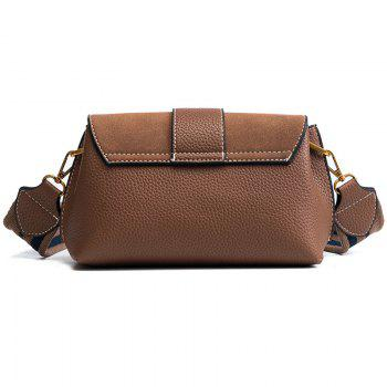 Wide Straps Small Bag 2018 Female Fashion Buckle Small Bag All-Match Shoulder Messenger Bag - DEEP BROWN