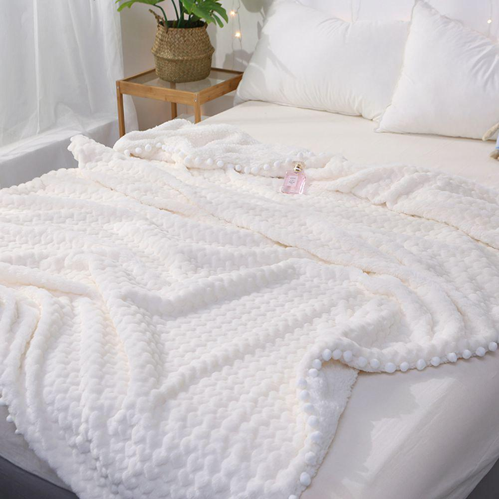 New Love Pattern Lamb Velvet Casual Blanket - WHITE 120CM X 150CM