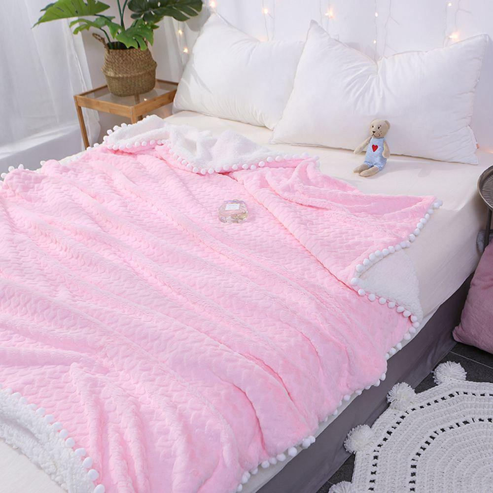 New Love Pattern Lamb Velvet Casual Blanket - PINK 120CM X 150CM