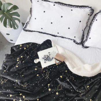 The Constellation Pattern is Super Soft Double Layer Thick Lamb Wool Blanket - BLACK 150CM X 200CM