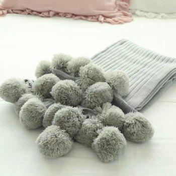 The New Pure Cotton Ball Decorative Knitted Net Red Blanket - GRAY 150CM X 200CM