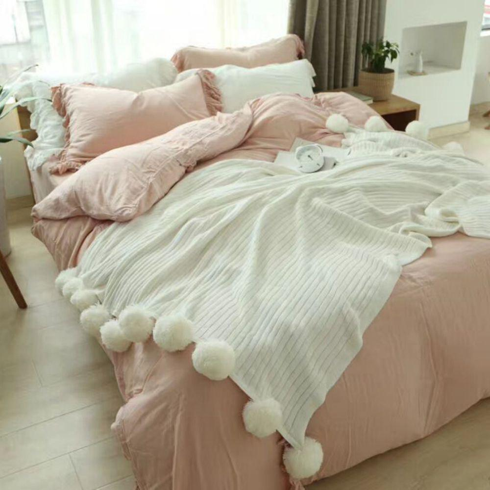 The New Pure Cotton Ball Decorative Knitted Net Red Blanket - WHITE 150CM X 200CM