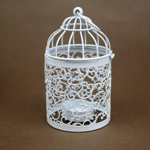 Zakka Creux Bougeoirs Cage Bougeoirs Ou Fer Forgé Chandelier - BlancA