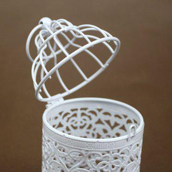 Zakka Hollow Out Flowers Cage Candlesticks Ou Wrought Iron Candlestick - WHITEA