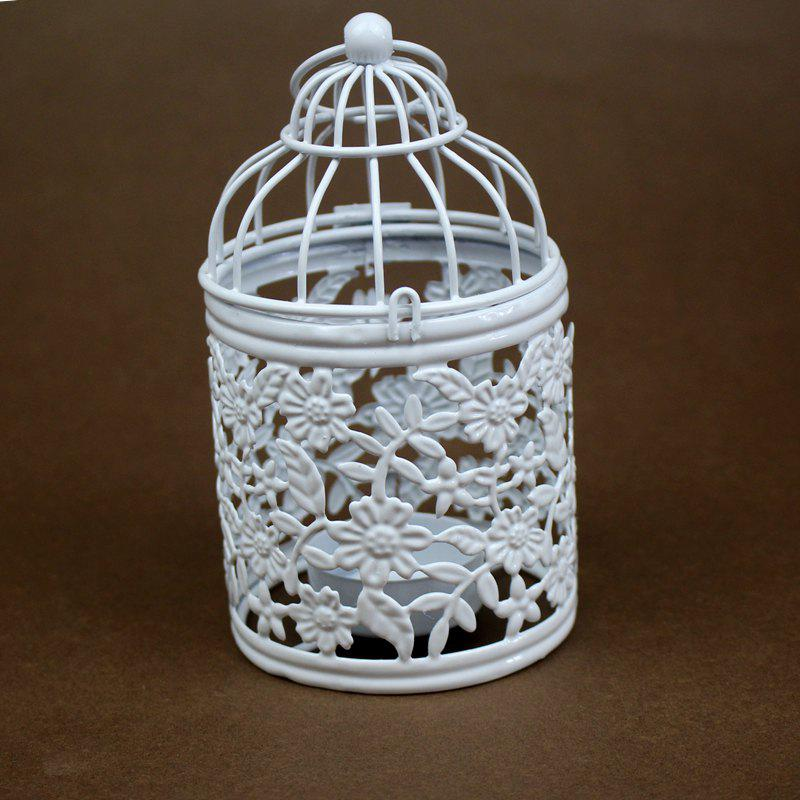 Zakka Hollow Out Flowers Cage Candlesticks Ou Wrought Iron Candlestick - WHITEB