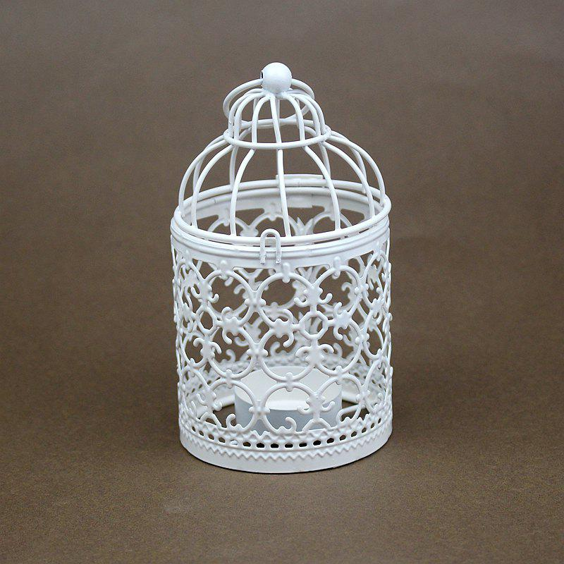 Zakka Hollow Out Flowers Cage Candlesticks Ou Wrought Iron Candlestick - WHITE