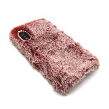 Lapin Lapin Chaud Fourrure Furry TPU Cas pour iPhone X - Rouge