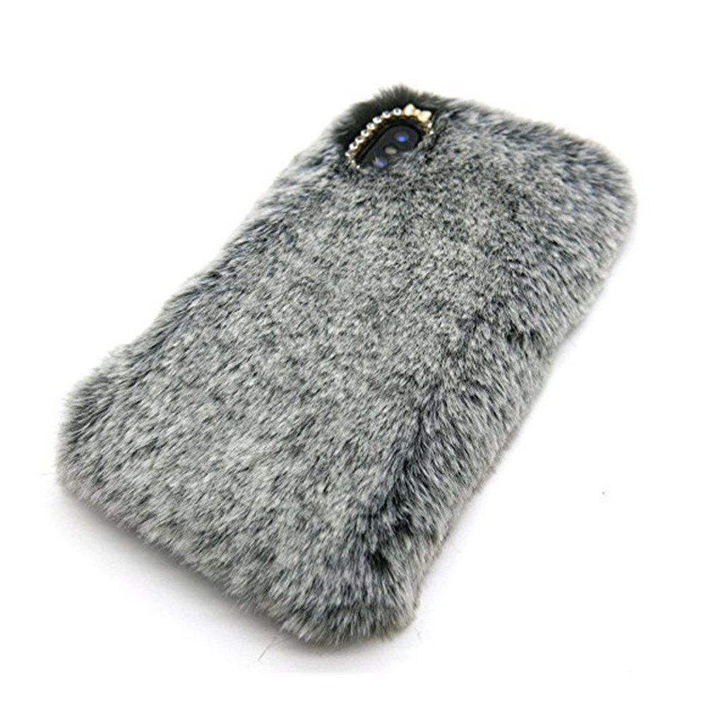 Rabbit Bunny Warm Furry Fur TPU Case for iPhone X - GRAY