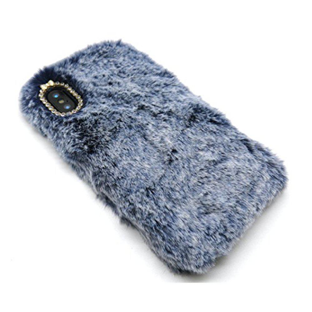 Rabbit Bunny Warm Furry Fur TPU Case for iPhone X - BLUE