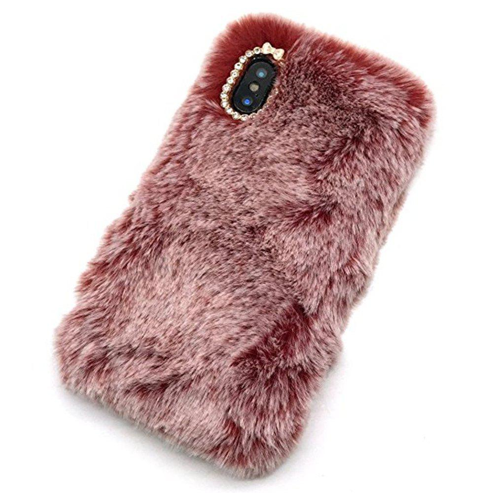Rabbit Bunny Warm Furry Fur TPU Case for iPhone X - RED