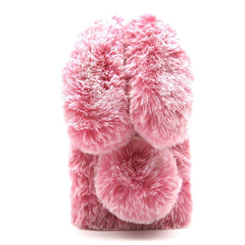 Rabbit Bunny Warm Furry Fur TPU Cover Case for iPhone X - PINK