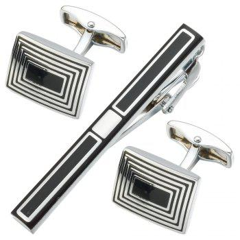 New Simple Style Black Rectangle Cufflinks Mens Shirt Cuff Button Christmas Gifts for Men Laser Plating Cuff Link