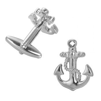 Sea Series Rudder Anchor Pirate Ship Cuff Links Wedding Party Gift Cufflinks For Mens French Suit Shirt Button - SILVER