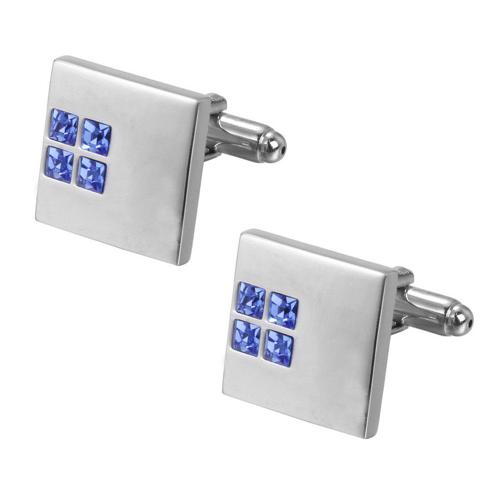 Men Blue & Silver Crystal Square Wedding Shirt Cufflinks Party Gift - BLUE
