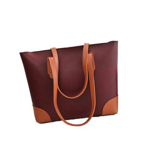 Ladies Casual Contrast Color Two in One Handbag - WINE RED