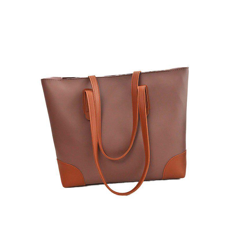 Ladies Casual Contrast Color Two in One Handbag - COFFEE