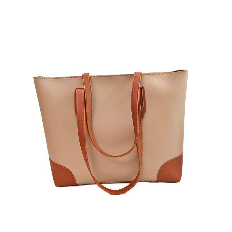 Ladies Casual Contrast Color Two in One Handbag - APRICOT