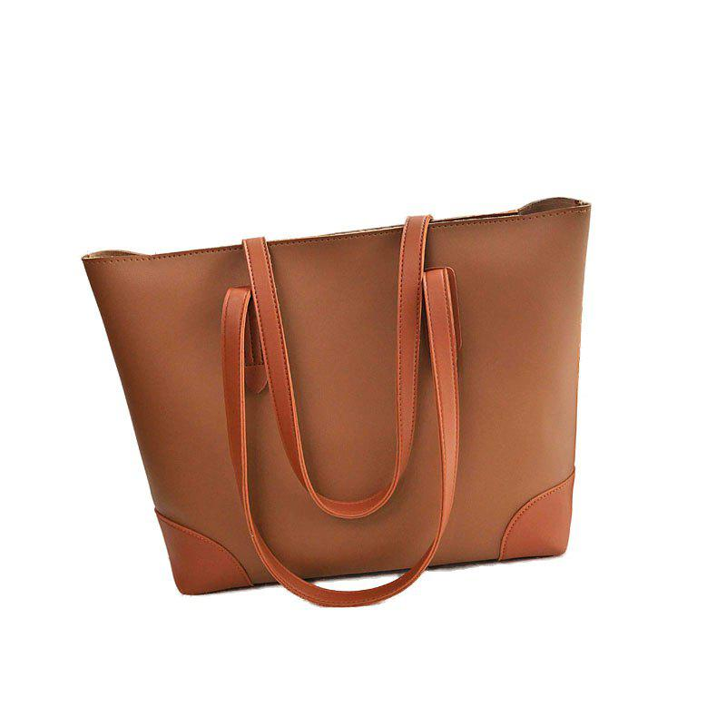 Ladies Casual Contrast Color Two in One Handbag - BROWN