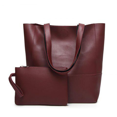 Ladies Fashion Contrast Color Two in One Shoulder Bag - WINE RED