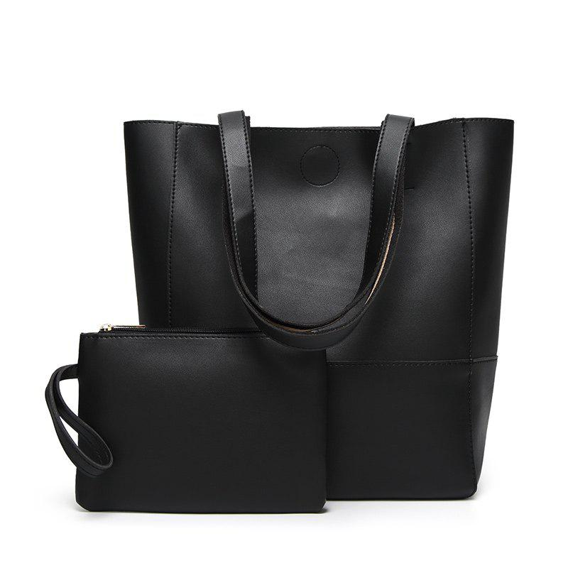 Ladies Fashion Contrast Color Two in One Shoulder Bag - BLACK