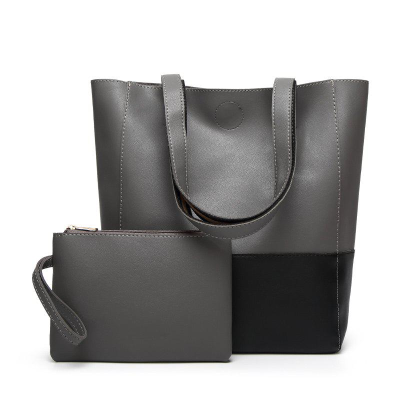 Ladies Fashion Contrast Color Two in One Shoulder Bag - GRAY