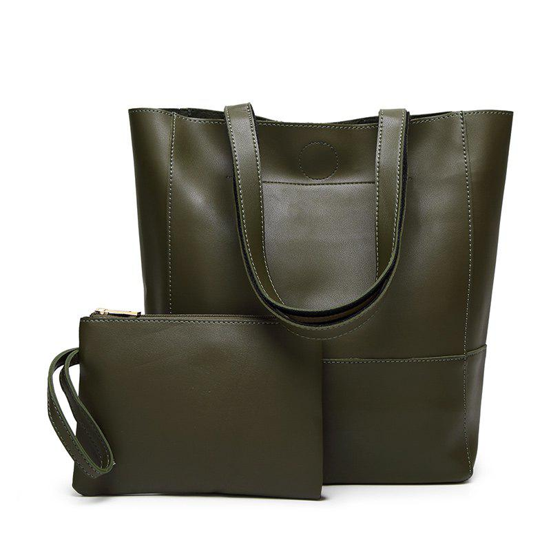 Ladies Fashion Contrast Color Two in One Shoulder Bag - DARK GREEN