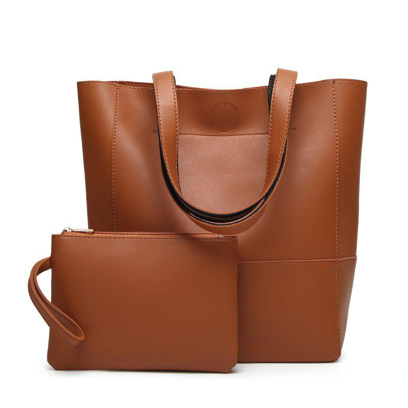 Ladies Fashion Contrast Color Two in One Shoulder Bag - DEEP BROWN