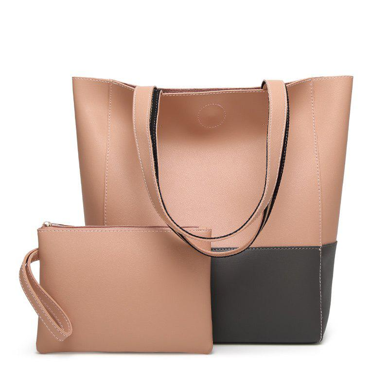 Ladies Fashion Contrast Color Two in One Shoulder Bag - PINK