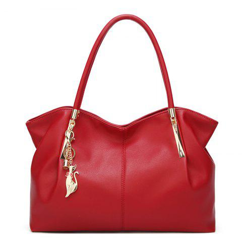 Ladies Fashion Wild Cat Ornament Shoulder Bag - RED