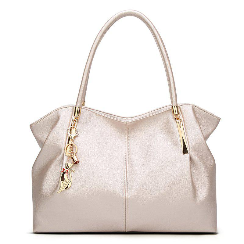 Ladies Fashion Wild Cat Ornament Shoulder Bag - PEARL WHITE