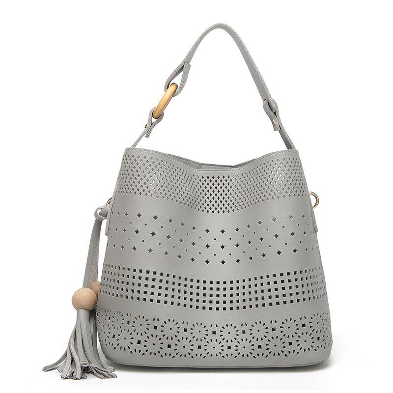 Ladies Fashion Wood Balls Tassel Bucket Handbag - GRAY