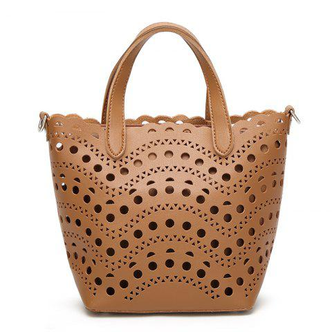 Ladies Fashion Hollow Two in One Handbag - BROWN