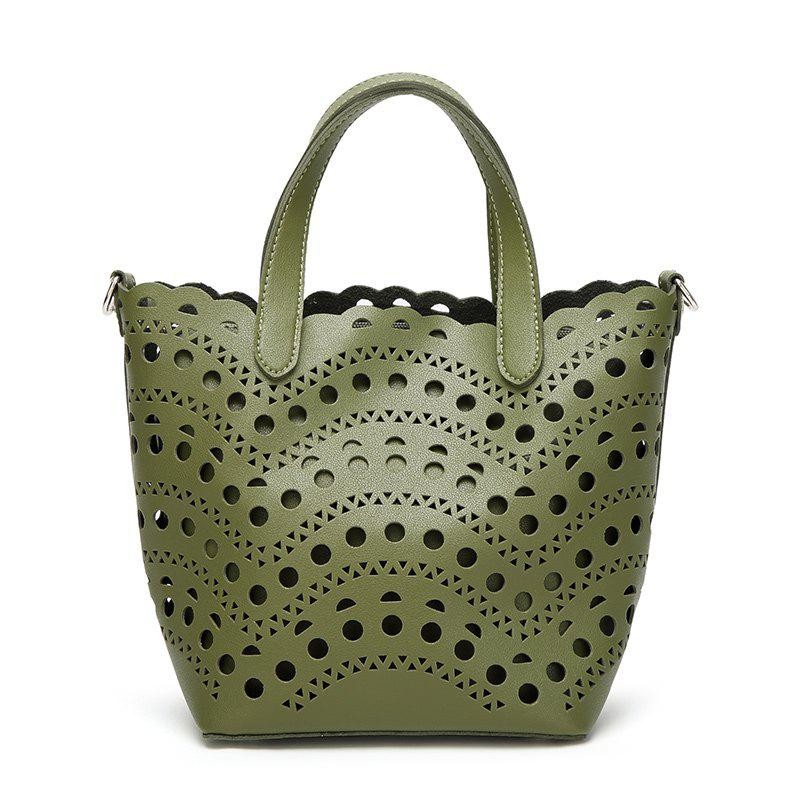 Ladies Fashion Hollow Two in One Handbag - GREEN
